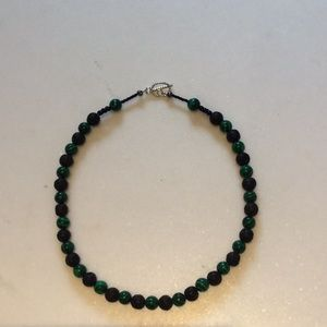 Jewelry - Lava stone and green bead handcrafted necklace.
